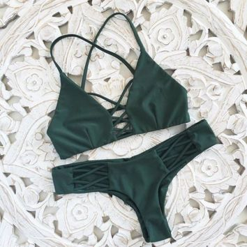 Dark Green Two Piece Bandage Bikini Set Swimwear BK008