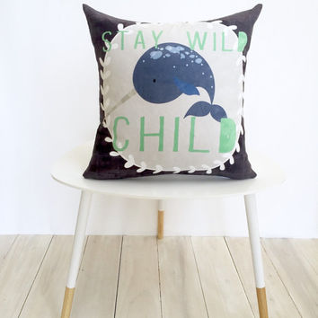 Nursery Pillow, Throw Pillow, Narwhal, Decorative Pillow, Gift, Blue, Baby Boy, Boy Room Decor, Boy Nursery, Narwhal Cushion