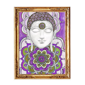 Purple Buddha Art Print, Buddha Mandala painting, Mural Buddha handmade, Buddha wall art decor, Buddhist Spiritual art, Zentangle trippy art