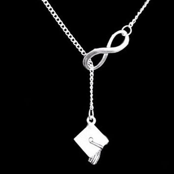 Graduation Cap Class Of 2017 Gift Graduate Infinity Lariat Necklace