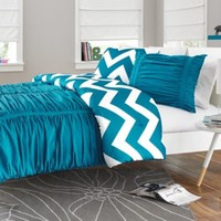 Reagan Reversible Comforter Set in Peacock Blue
