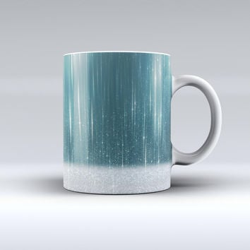 The Scratched Teal and White Surface with Silver Sparkle ink-Fuzed Ceramic Coffee Mug