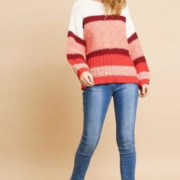 Multicolor Mixed Fabric Long Sleeve Pullover Sweater