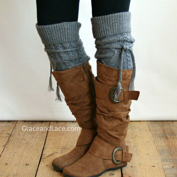 SALE Alpine Thigh High Slouch Sock - Mid Grey thick cable knit socks w/ fold over cuff and tassel tie - boot sock leg warmer (item no. 6-10)