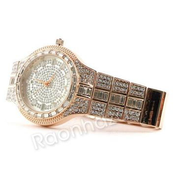 DCCKH7E Iced Out 14K Rose Gold Watch G55