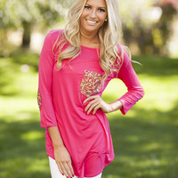 Sequins Pocket and Elbow Patch Top Fucshia