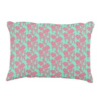 Japanese Floral Print - Pink & Teal Pillow