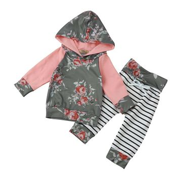 New Toddler Infant Baby Boy Girl Fashion Clothes Long Sleeve Floral Stripe Hoodie Tops+Pants Outfit Clothes Set