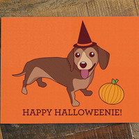 "Halloween Card ""Happy Halloweenie"" - Daschund art, dog card, doxie lover card, daschund card, gift card, cute dog art, hand drawn vector"