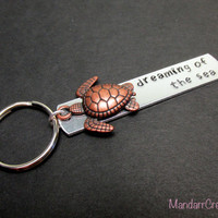 Sea Turtle Keychain, Dreaming of the Sea, Aluminum Hand Stamped Key Chain, Ocean Theme, Seaturtle