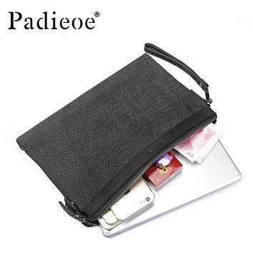 Genuine Leather Men's Handbag for Ipad High Quality Day Clutch Bag Male Fashion Long Wallet Card Holder With Wrist Strap