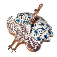 Peacock Brooch Signed Siam, Sterling Silver, Blue White Enamel Gold Vermeil Articulated Vintage