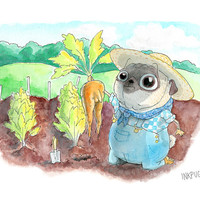 Naughty Garden Pug Art Print - Adventures in Gardening: an Unexpected Carrot - a slightly indecent illustration by InkPug!
