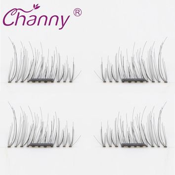 4 Pcs/Pairs 3D Magnetic False Eyelashes Soft Makeup Maquiagem Magnetic Fake Eyelashes Natural Eye Lashes Extension Drop shipping