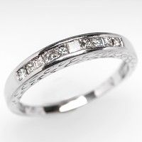 Channel Set Princess Cut Wedding Band Ring 18K White Gold