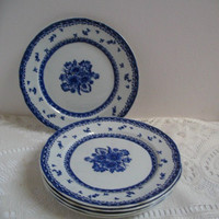 Vintage Bread and Butter Plates Arabia of Finland Blue and White China Set of 5