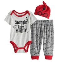 Boys LICENSED CHARACTER HARRY POTTER SNUGGLE THIS MUGGLE SET-INCLUDES BODYSUIT, HAT AND PANTS | Kohls