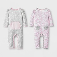Baby Girls' 2pk Dot/Floral Rompers - Cloud Island™ Pink/Gray