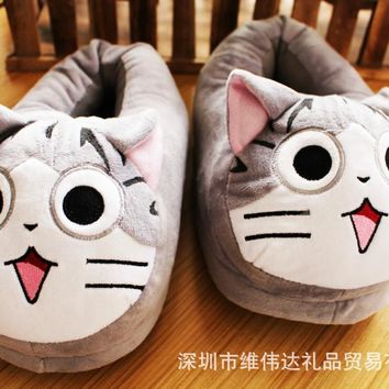 Large Cartoon Chi's Cat Slippers Mocasines Soft Gray Sweety Plush Women Girls Shoes Mocassim Loafers pantufa cosplay