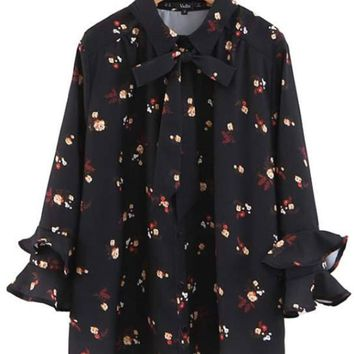 Sweet Ruffle Floral Print Blouse