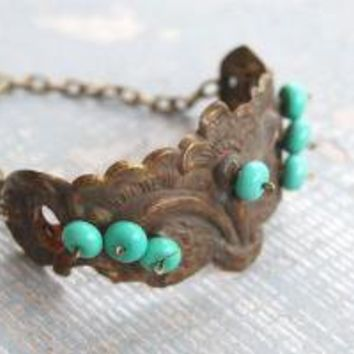 Turquoise Bracelet Antique Hardware Collection by jessamity