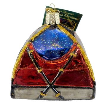 Old World Christmas DOME TENT Glass Ornament Camping Sleeping 44056