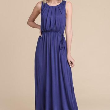 Pleated Solid Maxi Dress - Navy