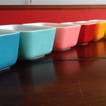 Vintage Pyrex Refrigerator Dish Pastel Color Collection 6 Piece Set Mid Century Retro Kitchen