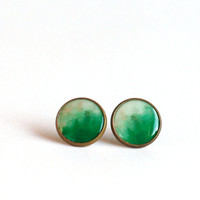 Ombre green stud earrings haind painted ombre earring studs