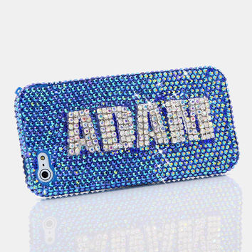Blue with Clear Diamonds Personalized Name & Initials Design (style PN_1033)