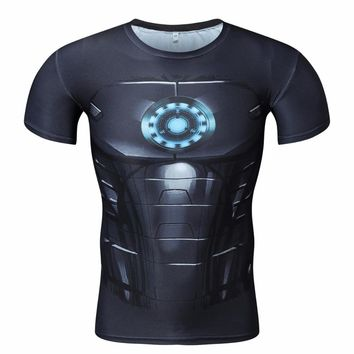 2017 summer Captain America 3d T shirt Men Layer Thermal fitness Shirt Crossfit Tops Martial Arts gym outdoor sports wear