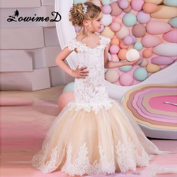 Mermaid Lace Flower Girl Dresses for Weddings 2017 Champagne Kids Evening Dress Holy Communion Dresses For Girls Pageant Gowns