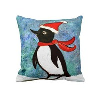 Holiday Penguin Pillow from Zazzle.com
