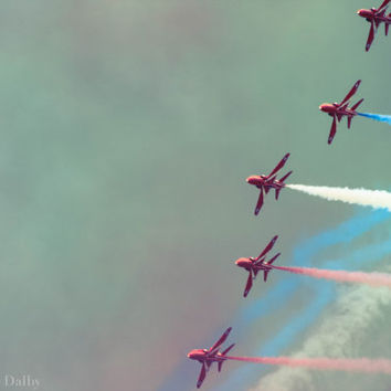 Red Arrows Aviation Photography, Airshow Photograph, Aerobatic Display in a Moody Sky, Red white and blue airshow, Wall Art, Boys Room Decor