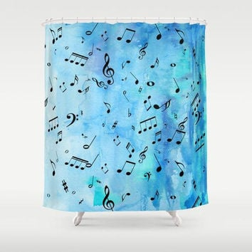 Music Notes Shower Curtain - blue and black musical fabric curtain - beautiful decor for musicians, singers, composers, bathroom  home