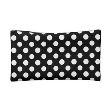 Black and White Polka Dot Pattern Cosmetic Bag