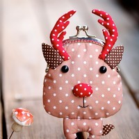 Supermarket: Santa's little helper reindeer coin purse from Misala Handmade Bags & Purses