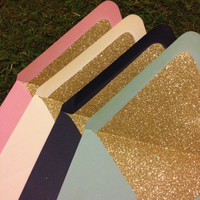 Gold Glitter-lined Envelopes, Set of 4, Different Colors Available