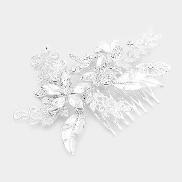 Floral & Leaf Crystal Accent Hair Comb