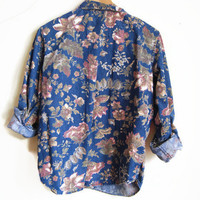 Vintage Floral Denim Shirt Button Down Blue Jean Shirt 1990s clothing boho blouse 90s floral top womens LARGE