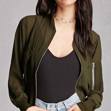 Sheer Zip-Up Jacket