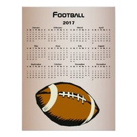 Brown and Black 2017 Football Sports Calendar Poster