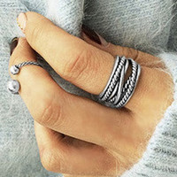 Silver Etched Knuckle Ring Set