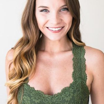 First Rose Olive Lace Bralette