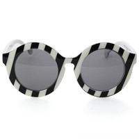 Zebra Pattern Round Sunglasses