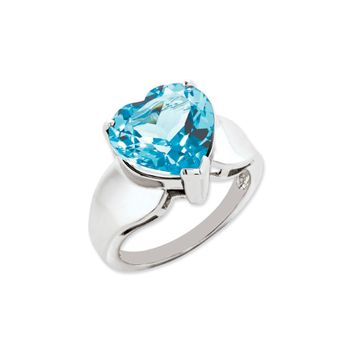 Sterling Silver And 12mm Heart Shaped Light Blue Topaz Ring