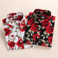 Clearance ! Brand Floral Blouses Cotton Shirts Women Vintage Turn-Down Collar Tops Blusas Ladies Clothing Long Sleeve Blouse