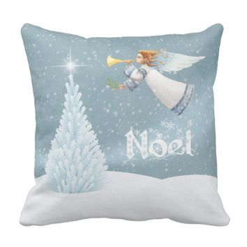 Noel Christmas Angel with Trumpet Throw Pillow
