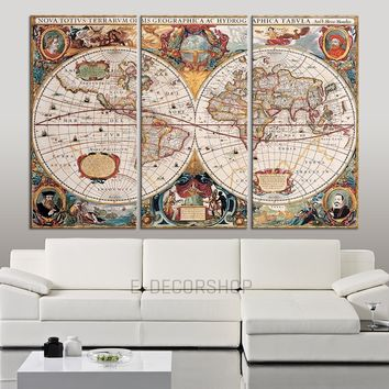 Colorful and Vintage World Map Canvas << Antique Map Canvas Print >>  Ready to Hang 3 Panels Stretched on Deep 3cm Frame