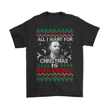 QIYIF All I Want For Christmas Is Rick Grimes The Walking Dead Shirts